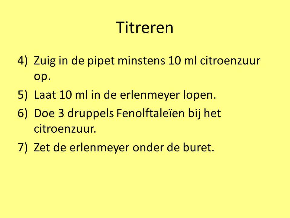 Titreren 4)Zuig in de pipet minstens 10 ml citroenzuur op. 5)Laat 10 ml in de erlenmeyer lopen. 6)Doe 3 druppels Fenolftaleïen bij het citroenzuur. 7)