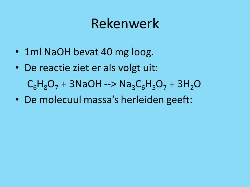 Rekenwerk 1ml NaOH bevat 40 mg loog. De reactie ziet er als volgt uit: C 6 H 8 O 7 + 3NaOH --> Na 3 C 6 H 5 O 7 + 3H 2 O De molecuul massa's herleiden