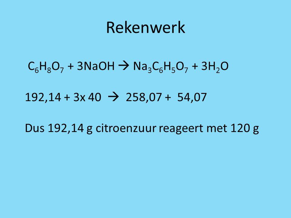 Rekenwerk C 6 H 8 O 7 + 3NaOH  Na 3 C 6 H 5 O 7 + 3H 2 O 192,14 + 3x 40  258,07 + 54,07 Dus 192,14 g citroenzuur reageert met 120 g