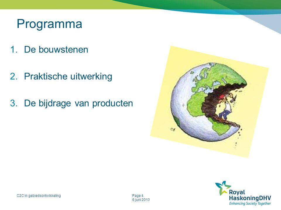C2C in gebiedsontwikkelingPage 4 6 juni 2013 Programma 1.De bouwstenen 2.Praktische uitwerking 3.De bijdrage van producten