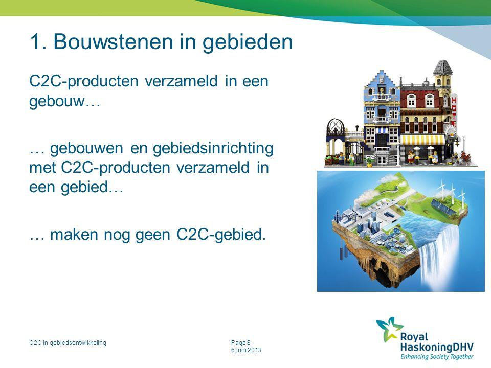 C2C in gebiedsontwikkelingPage 8 6 juni 2013 1. Bouwstenen in gebieden C2C-producten verzameld in een gebouw… … gebouwen en gebiedsinrichting met C2C-