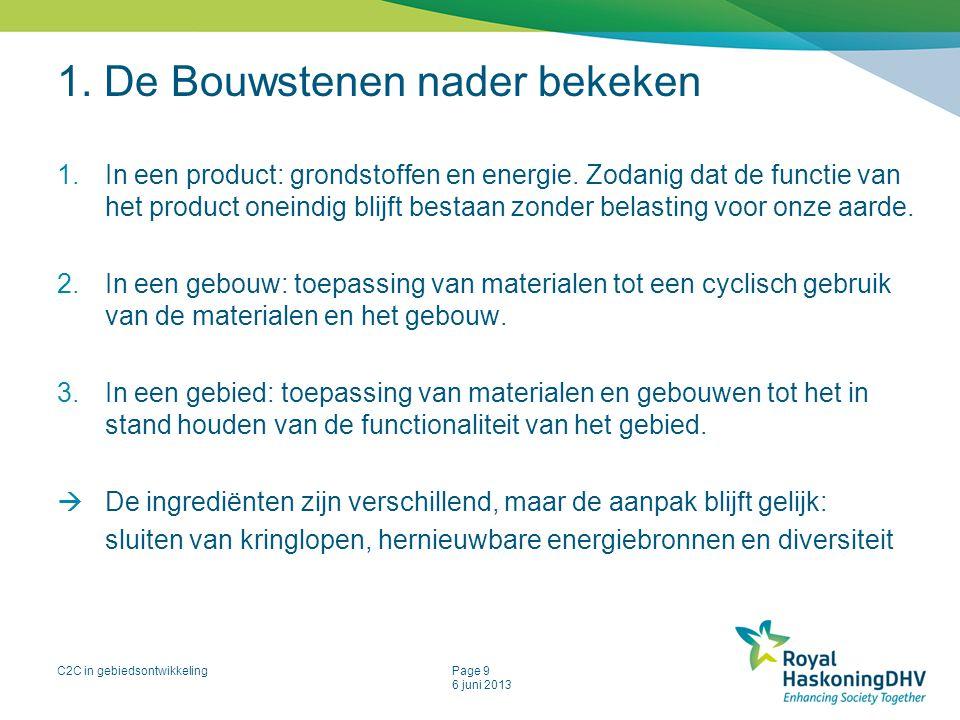 C2C in gebiedsontwikkelingPage 9 6 juni 2013 1. De Bouwstenen nader bekeken 1.In een product: grondstoffen en energie. Zodanig dat de functie van het