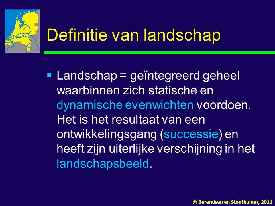 Definitie van landschap  Landschap = geïntegreerd geheel waarbinnen zich statische en dynamische evenwichten voordoen.