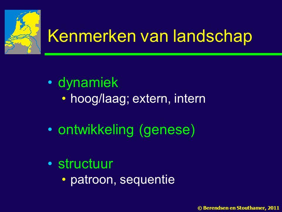 Kenmerken van landschap dynamiek hoog/laag; extern, intern ontwikkeling (genese) structuur patroon, sequentie © Berendsen en Stouthamer, 2011
