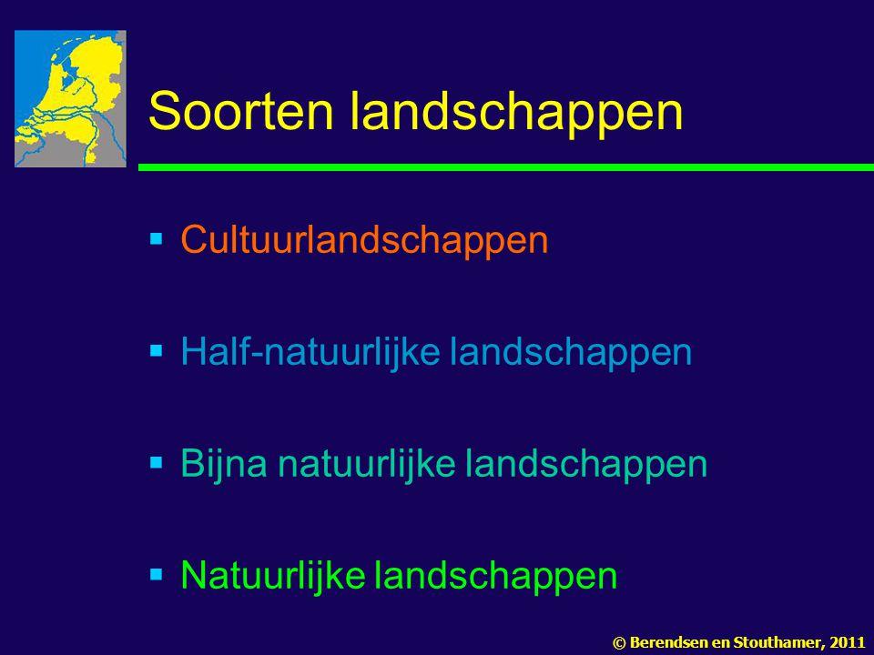 Soorten landschappen  Cultuurlandschappen  Half-natuurlijke landschappen  Bijna natuurlijke landschappen  Natuurlijke landschappen © Berendsen en Stouthamer, 2011