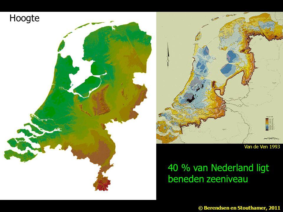 40 % van Nederland ligt beneden zeeniveau Hoogte Van de Ven 1993 © Berendsen en Stouthamer, 2011