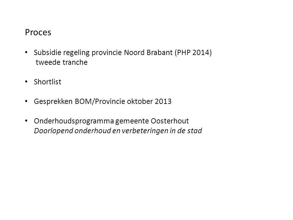 Proces Subsidie regeling provincie Noord Brabant (PHP 2014) tweede tranche Shortlist Gesprekken BOM/Provincie oktober 2013 Onderhoudsprogramma gemeent