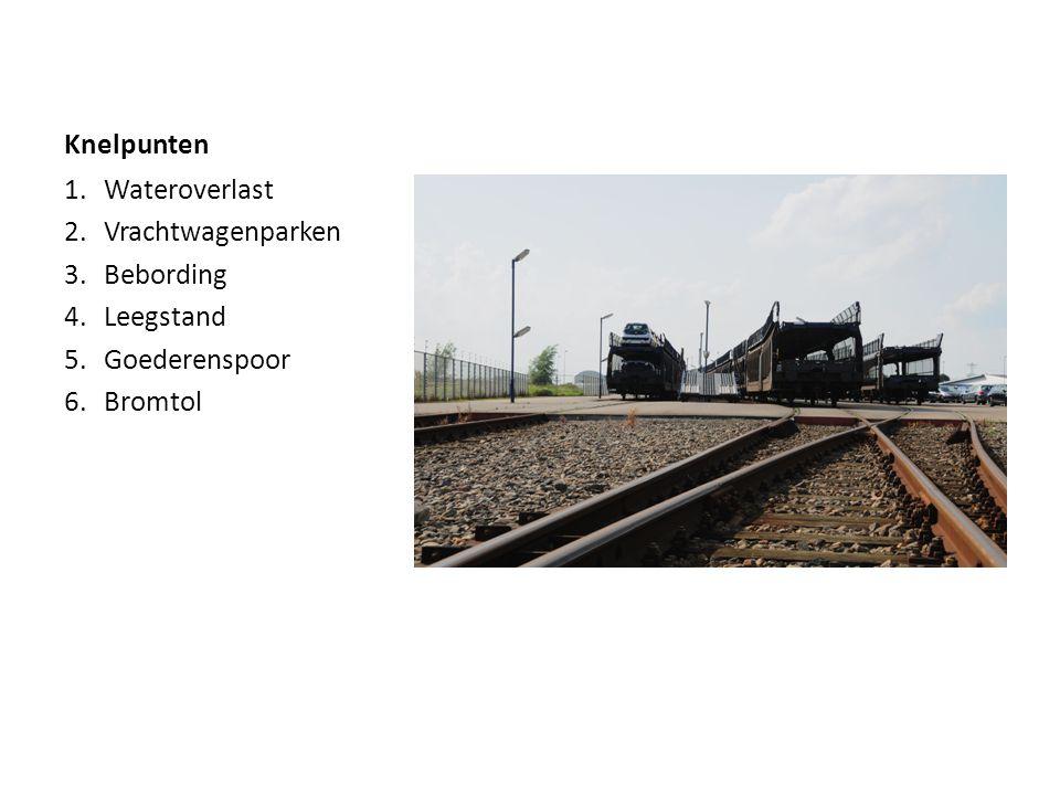 Knelpunten 1.Wateroverlast 2.Vrachtwagenparken 3.Bebording 4.Leegstand 5.Goederenspoor 6.Bromtol