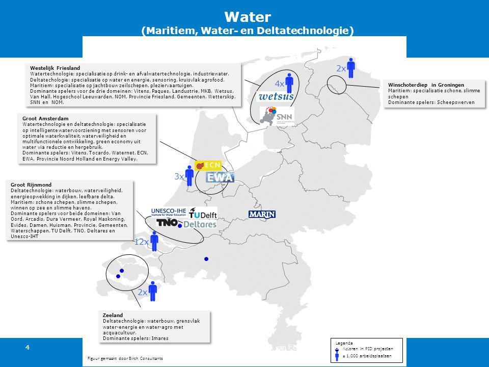 Actoren in PID projecten ± 1.000 arbeidsplaatsen Legenda Groot Amsterdam Watertechnologie en deltatechnologie: specialisatie op intelligente watervoorziening met sensoren voor optimale waterkwaliteit, waterveiligheid en multifunctionele ontwikkeling, green economy uit water via reductie en hergebruik.