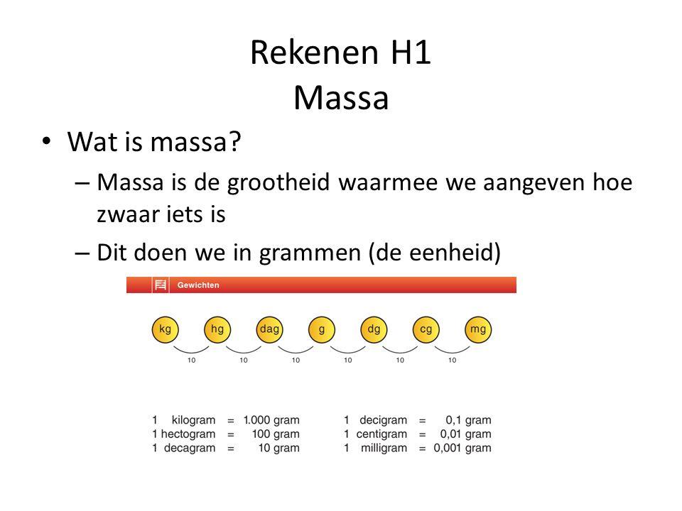 Rekenen H1 Massa Wat is massa? – Massa is de grootheid waarmee we aangeven hoe zwaar iets is – Dit doen we in grammen (de eenheid)