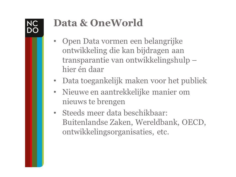 Data & OneWorld Open Data vormen een belangrijke ontwikkeling die kan bijdragen aan transparantie van ontwikkelingshulp – hier én daar Data toegankelijk maken voor het publiek Nieuwe en aantrekkelijke manier om nieuws te brengen Steeds meer data beschikbaar: Buitenlandse Zaken, Wereldbank, OECD, ontwikkelingsorganisaties, etc.