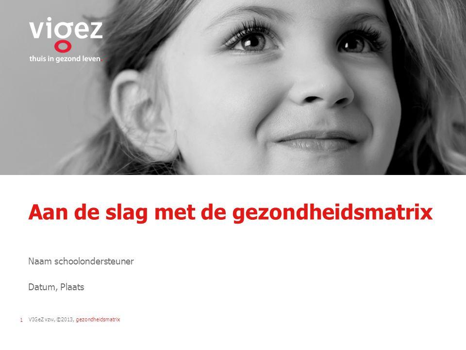 VIGeZ vzw, ©2013, gezondheidsmatrix1 Aan de slag met de gezondheidsmatrix Naam schoolondersteuner Datum, Plaats