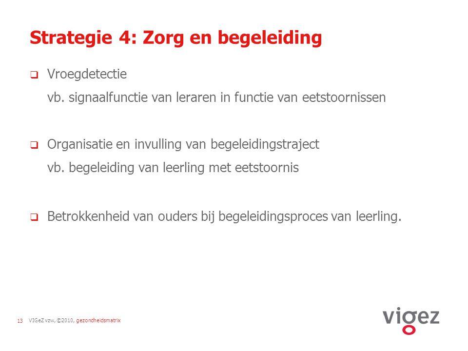 VIGeZ vzw, ©2010, gezondheidsmatrix13 Strategie 4: Zorg en begeleiding  Vroegdetectie vb. signaalfunctie van leraren in functie van eetstoornissen 