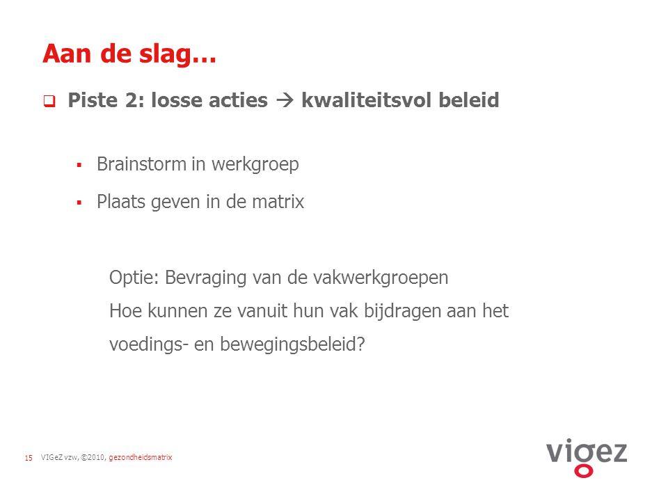 VIGeZ vzw, ©2010, gezondheidsmatrix15 Aan de slag…  Piste 2: losse acties  kwaliteitsvol beleid  Brainstorm in werkgroep  Plaats geven in de matri