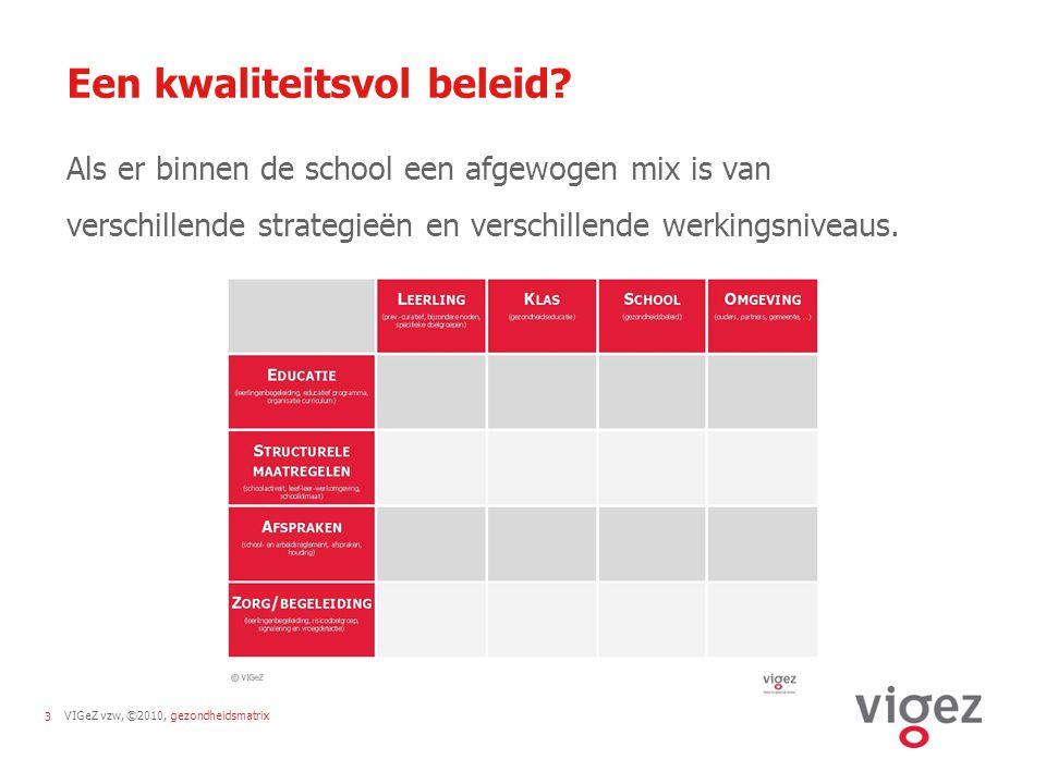 VIGeZ vzw, ©2010, gezondheidsmatrix14 Aan de slag…  Piste 1: inventarisatie + toetsen kwaliteitsvol beleid  Werkgroep brengt in kaart wat er reeds gebeurt op school en probeert dit een plaats te geven in de matrix.