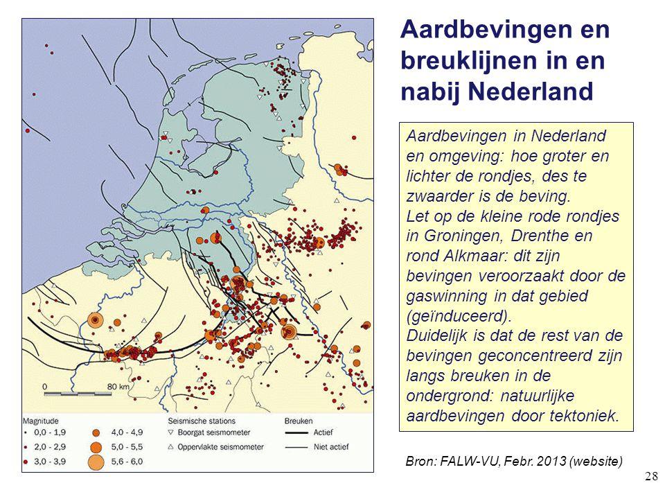 Aardbevingen en breuklijnen in en nabij Nederland 28 Bron: FALW-VU, Febr. 2013 (website) Aardbevingen in Nederland en omgeving: hoe groter en lichter