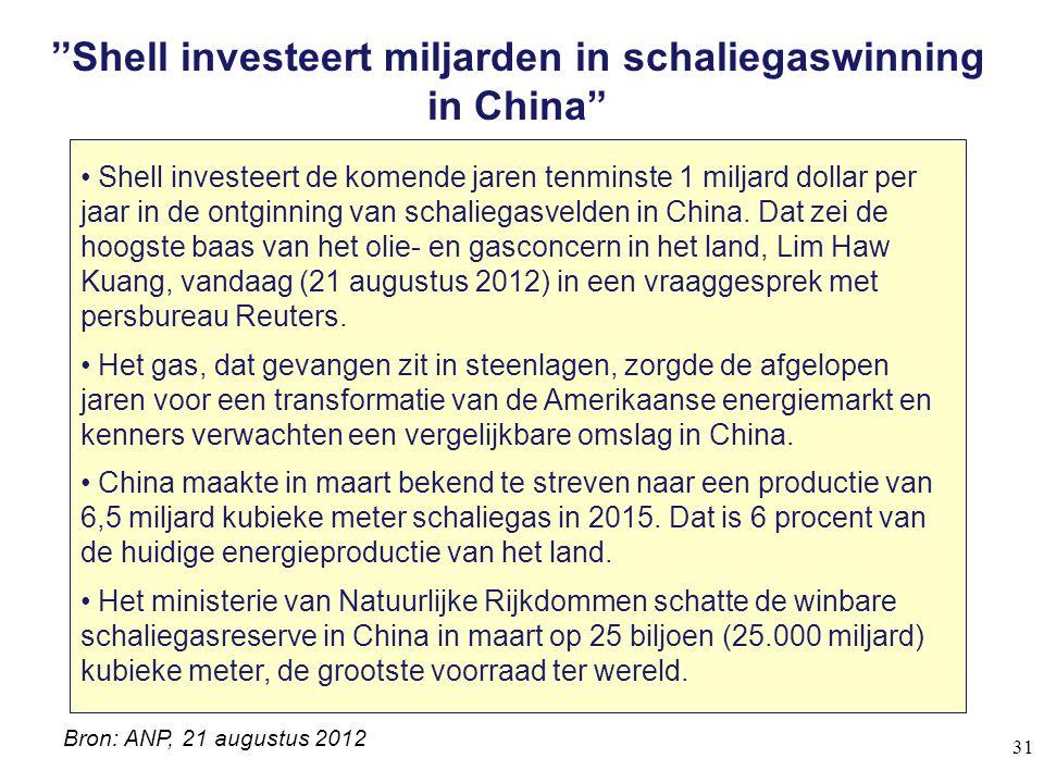 """''Shell investeert miljarden in schaliegaswinning in China"""" Shell investeert de komende jaren tenminste 1 miljard dollar per jaar in de ontginning van"""
