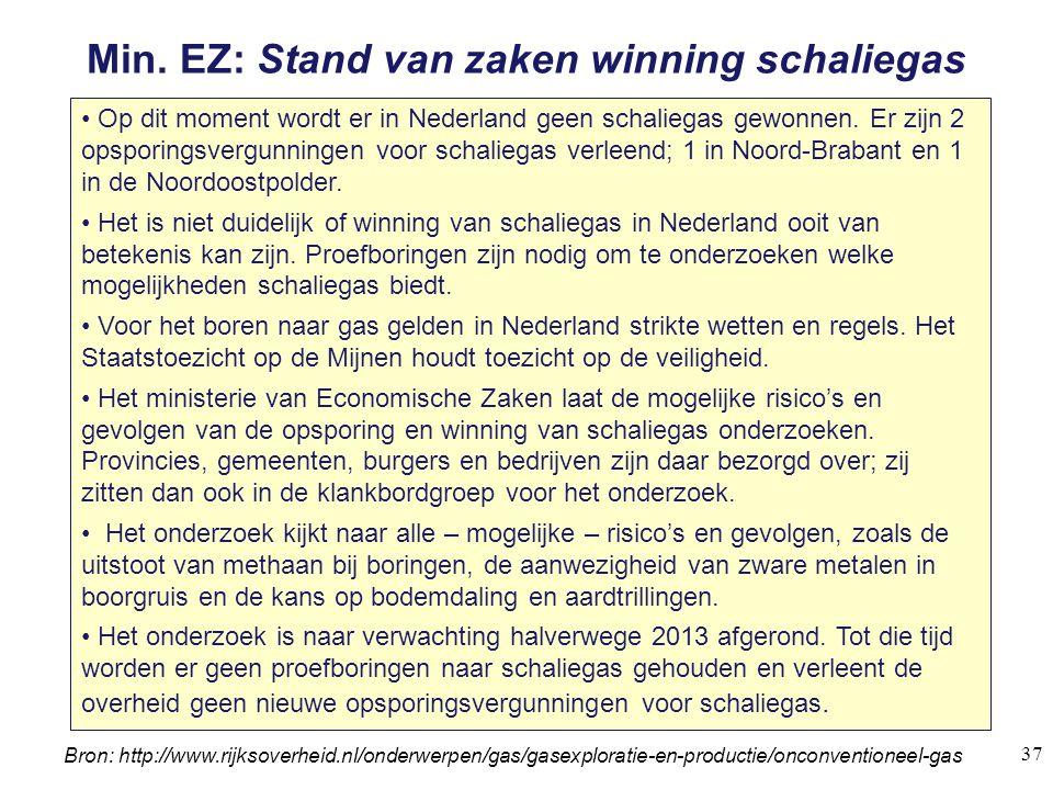 Min. EZ: Stand van zaken winning schaliegas Op dit moment wordt er in Nederland geen schaliegas gewonnen. Er zijn 2 opsporingsvergunningen voor schali