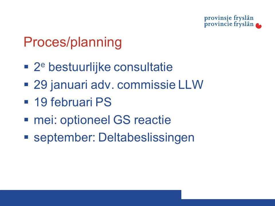 Proces/planning  2 e bestuurlijke consultatie  29 januari adv.