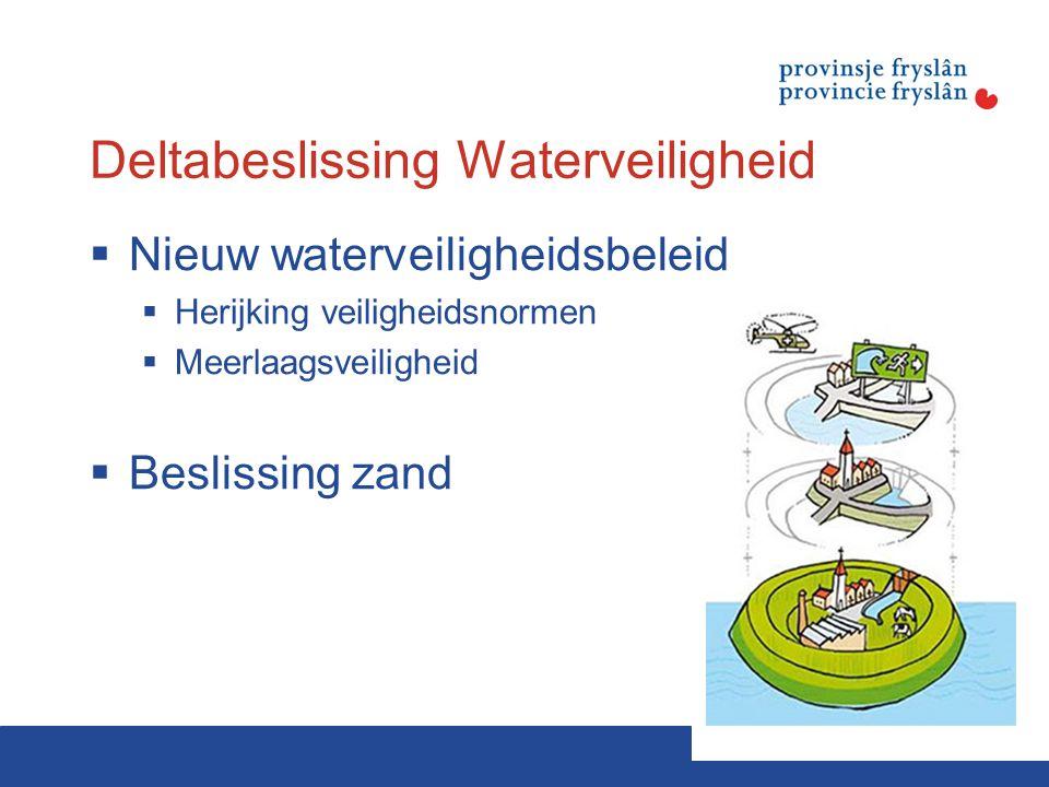 Deltabeslissing Waterveiligheid  Nieuw waterveiligheidsbeleid  Herijking veiligheidsnormen  Meerlaagsveiligheid  Beslissing zand