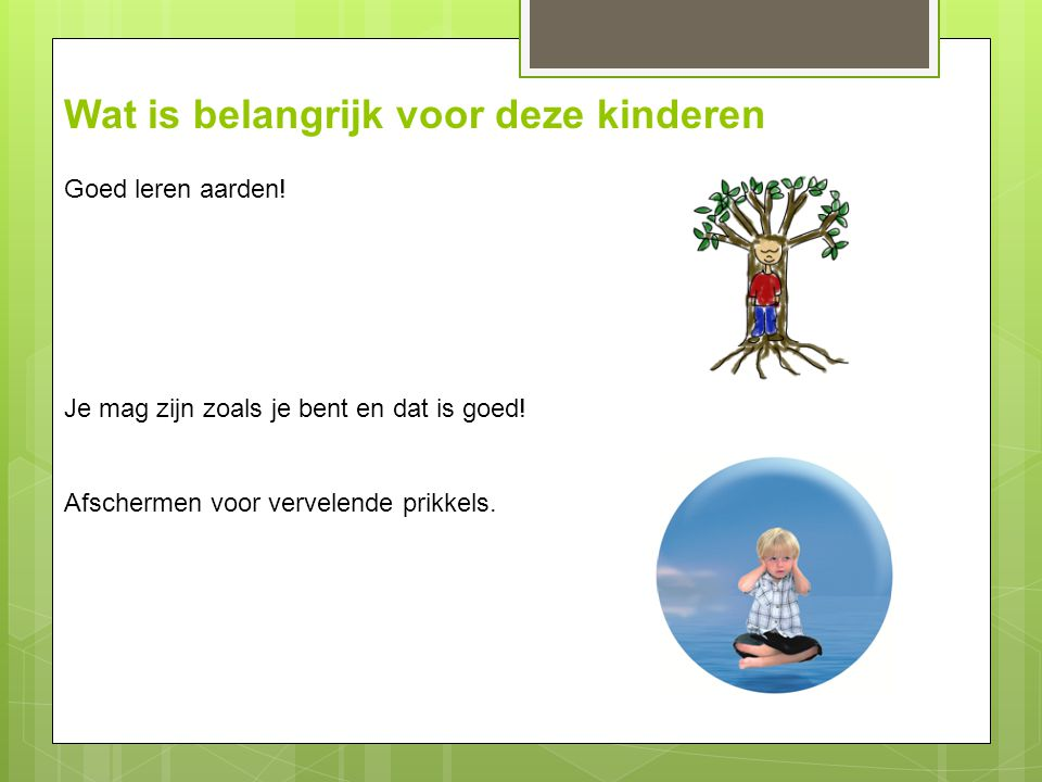 Wat is belangrijk voor deze kinderen Goed leren aarden! Je mag zijn zoals je bent en dat is goed! Afschermen voor vervelende prikkels.