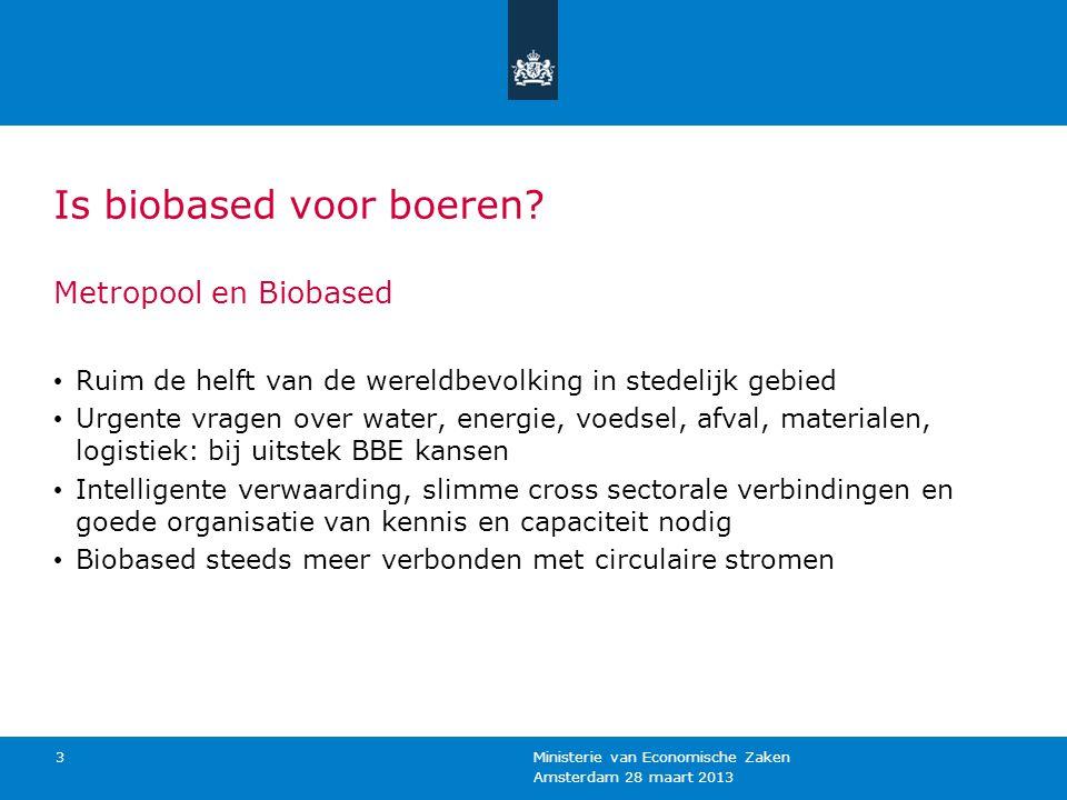 Amsterdam 28 maart 2013 Ministerie van Economische Zaken 3 Is biobased voor boeren? Metropool en Biobased Ruim de helft van de wereldbevolking in sted
