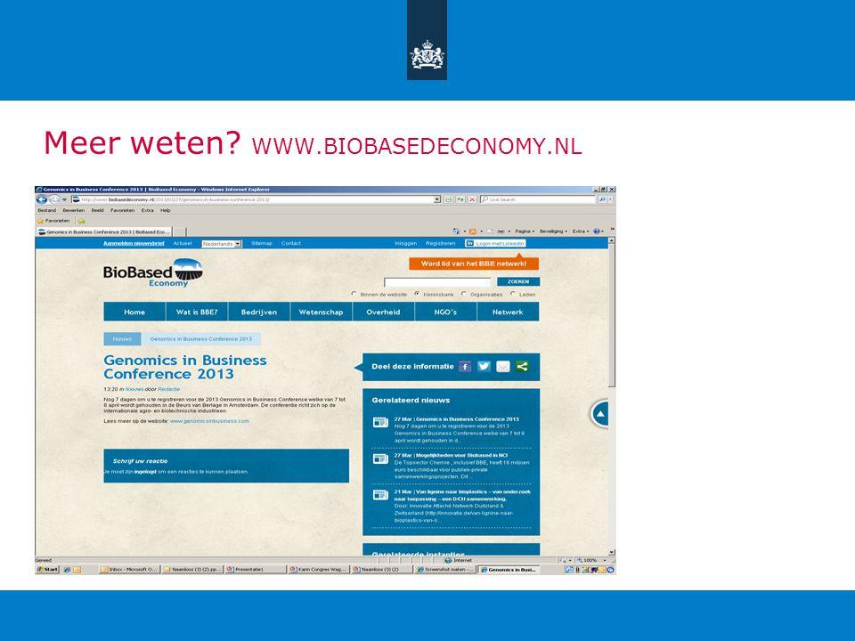 Meer weten WWW.BIOBASEDECONOMY.NL
