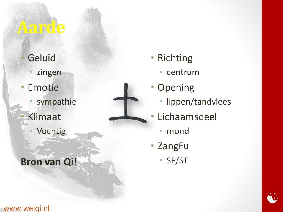 www.weiqi.nl Aarde Geluid zingen Emotie sympathie Klimaat Vochtig Bron van Qi.