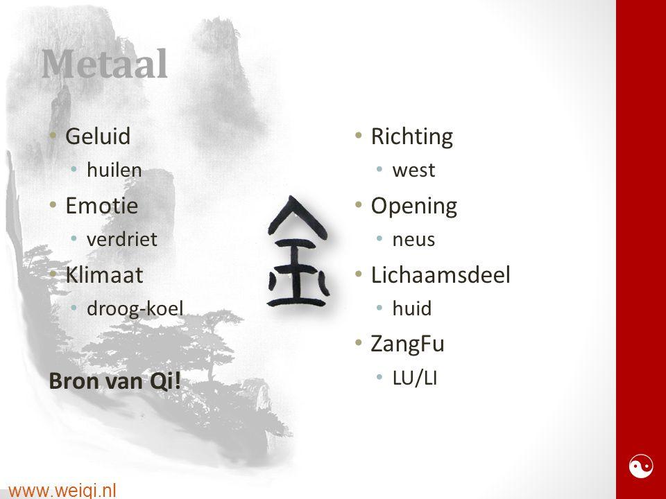  www.weiqi.nl Metaal Geluid huilen Emotie verdriet Klimaat droog-koel Bron van Qi.