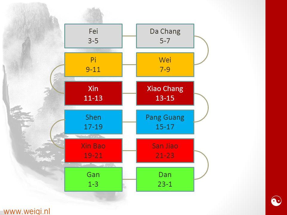  www.weiqi.nl Pi 9-11 Wei 7-9 Xin 11-13 Xiao Chang 13-15 Shen 17-19 Pang Guang 15-17 Xin Bao 19-21 San Jiao 21-23 Gan 1-3 Dan 23-1 Fei 3-5 Da Chang 5-7