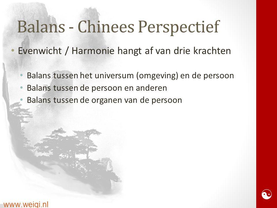  Balans - Chinees Perspectief Evenwicht / Harmonie hangt af van drie krachten Balans tussen het universum (omgeving) en de persoon Balans tussen de persoon en anderen Balans tussen de organen van de persoon