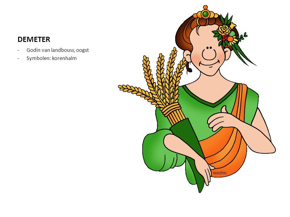 DEMETER -Godin van landbouw, oogst -Symbolen: korenhalm