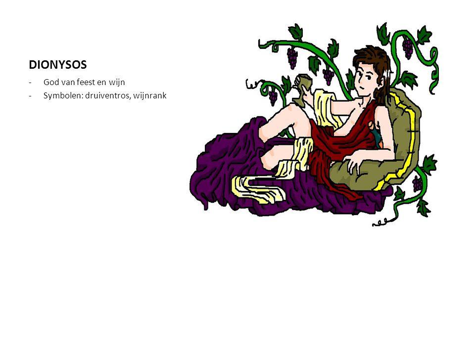 DIONYSOS -God van feest en wijn -Symbolen: druiventros, wijnrank