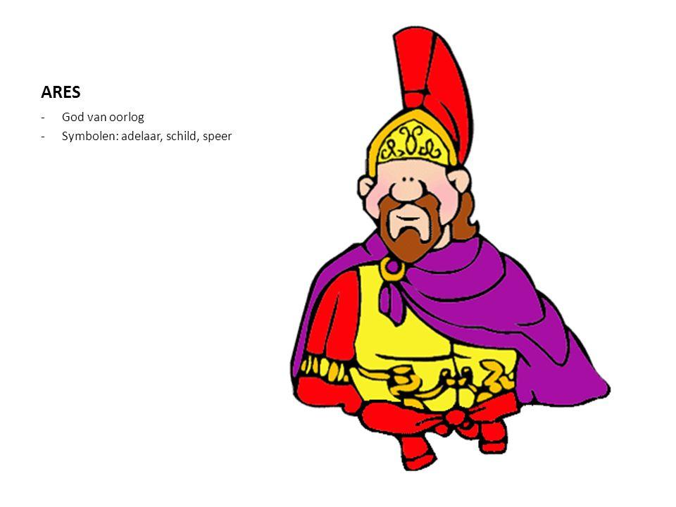 HERMES -Boodschapper (heraut) van de goden -Brengt de zielen naar het dodenrijk -Symbolen: herautstaf, gevleugelde hoed, gevleugelde sandalen