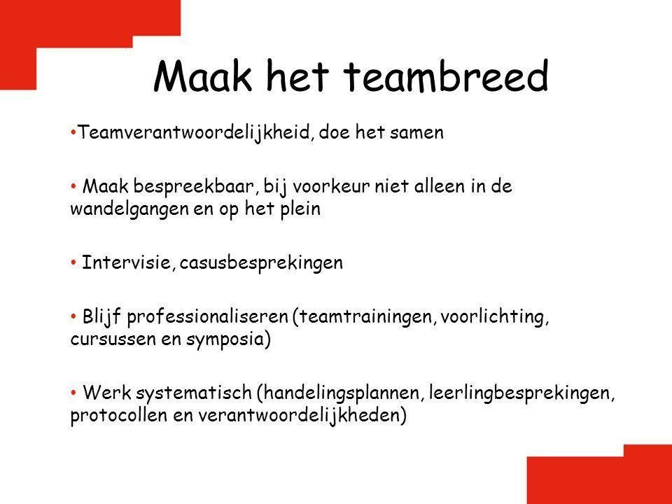 Maak het teambreed Teamverantwoordelijkheid, doe het samen Maak bespreekbaar, bij voorkeur niet alleen in de wandelgangen en op het plein Intervisie,