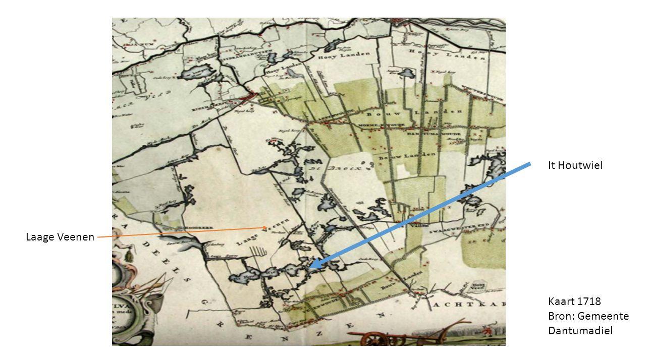 Kaart 1718 Bron: Gemeente Dantumadiel It Houtwiel Laage Veenen