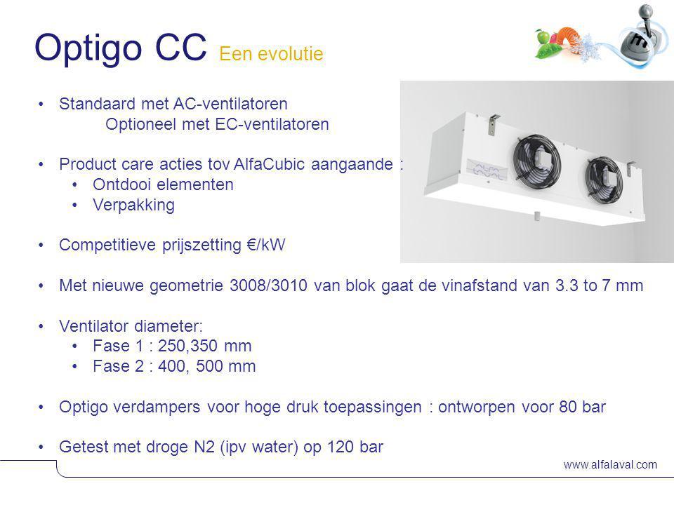 www.alfalaval.com Materiaal : Standaard in Aluminum pre-painted Optioneel : - poeder coating - SS 304 (ook het frame, ventilator grids voorzien van du