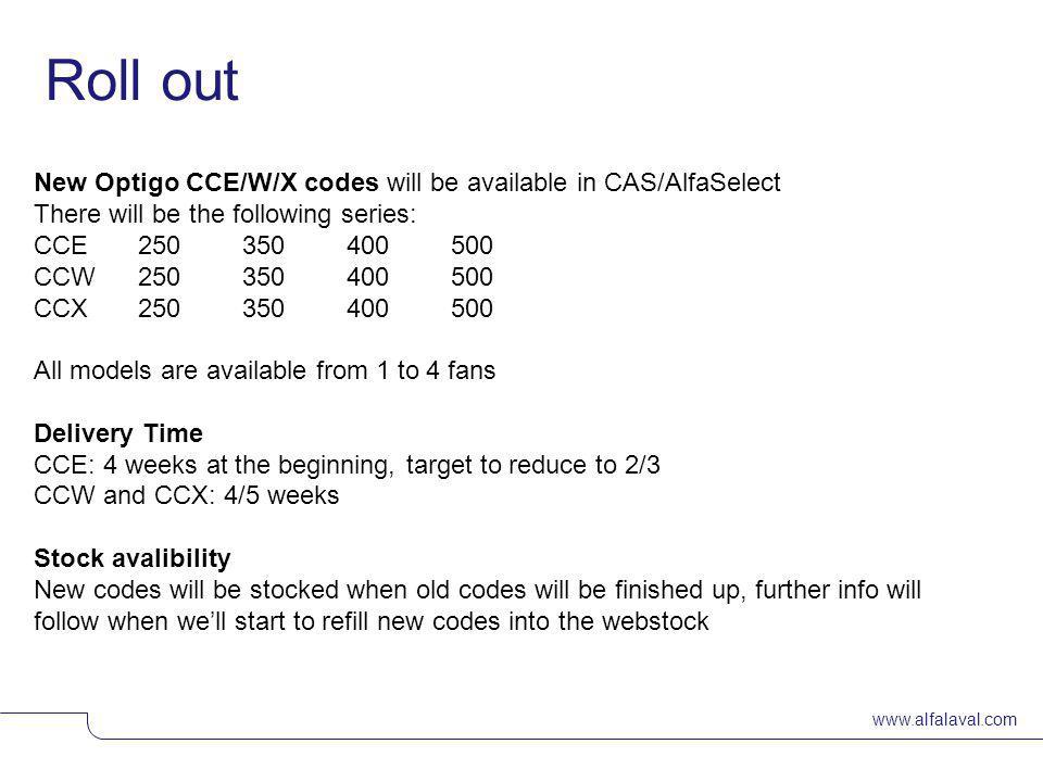 www.alfalaval.com Slide 8 400mm – van 1 tot 4 fans (plastic fan blades) 500mm – van 1 tot 4 fans (aluminium fan blades) Optigo CC Overzicht