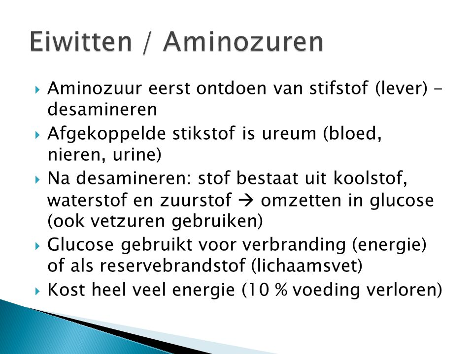  Aminozuur eerst ontdoen van stifstof (lever) - desamineren  Afgekoppelde stikstof is ureum (bloed, nieren, urine)  Na desamineren: stof bestaat ui