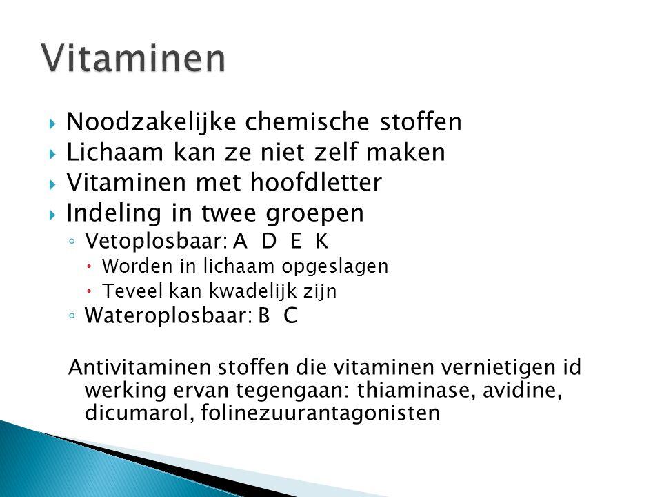  Noodzakelijke chemische stoffen  Lichaam kan ze niet zelf maken  Vitaminen met hoofdletter  Indeling in twee groepen ◦ Vetoplosbaar: A D E K  Wo