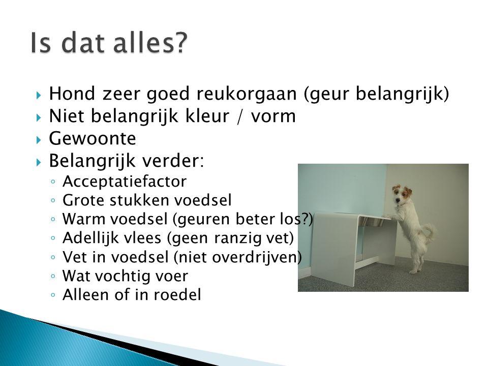  Hond zeer goed reukorgaan (geur belangrijk)  Niet belangrijk kleur / vorm  Gewoonte  Belangrijk verder: ◦ Acceptatiefactor ◦ Grote stukken voedse
