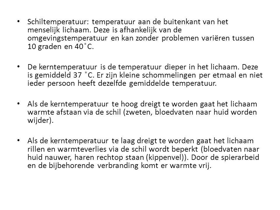 Schiltemperatuur: temperatuur aan de buitenkant van het menselijk lichaam. Deze is afhankelijk van de omgevingstemperatuur en kan zonder problemen var