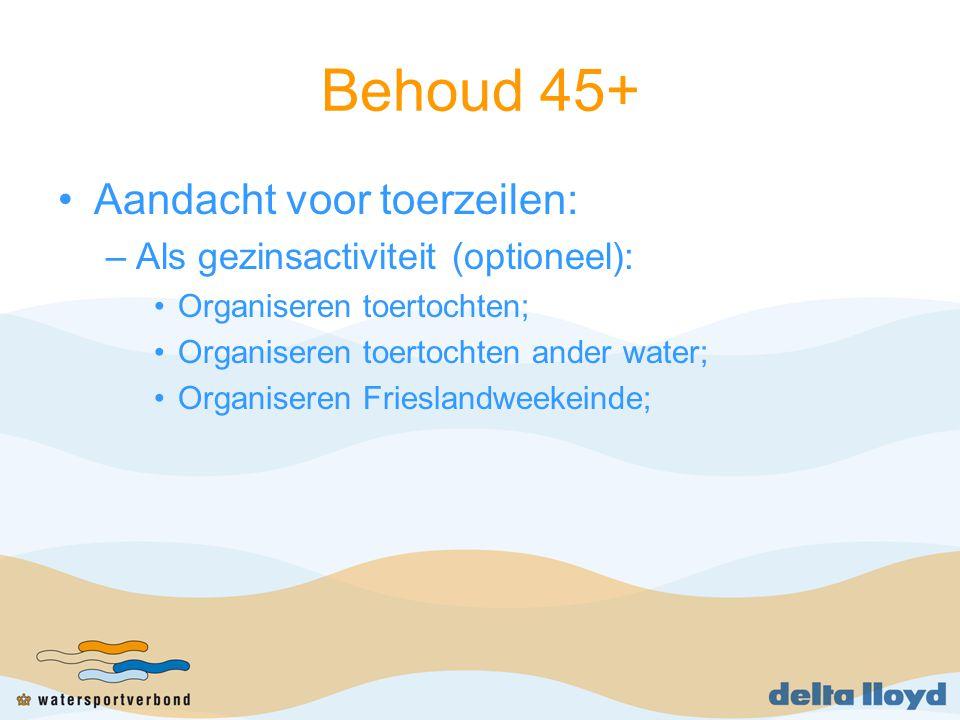 Behoud 45+ Aandacht voor toerzeilen: –Als gezinsactiviteit (optioneel): Organiseren toertochten; Organiseren toertochten ander water; Organiseren Frieslandweekeinde;