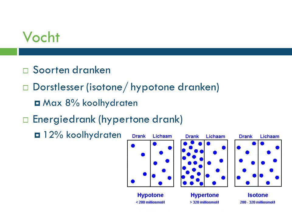 Vocht  Soorten dranken  Dorstlesser (isotone/ hypotone dranken)  Max 8% koolhydraten  Energiedrank (hypertone drank)  12% koolhydraten