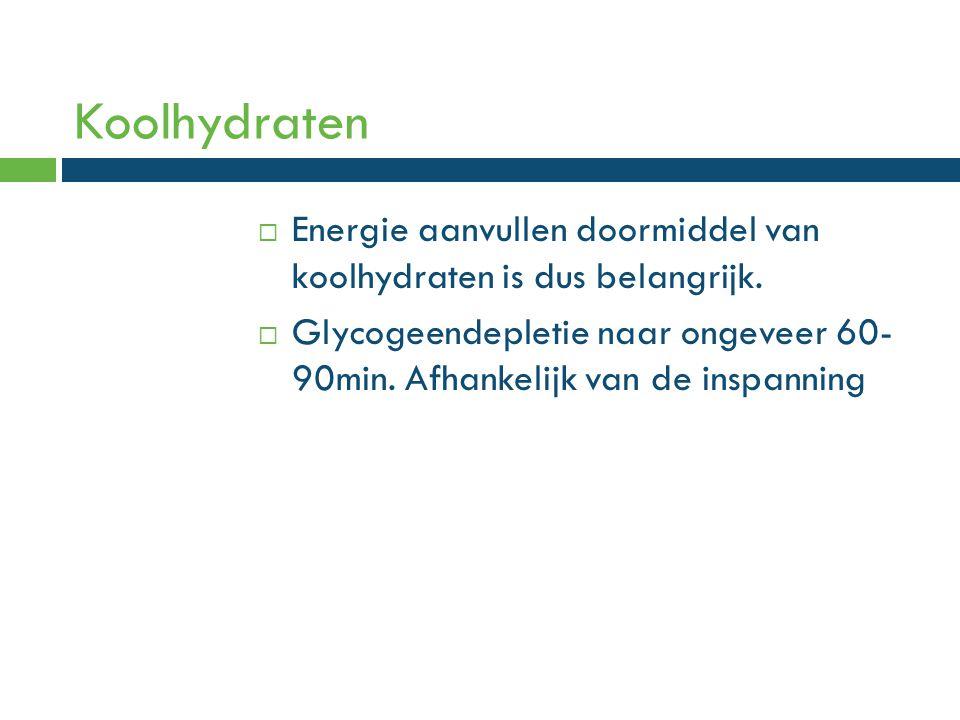  Energie aanvullen doormiddel van koolhydraten is dus belangrijk.  Glycogeendepletie naar ongeveer 60- 90min. Afhankelijk van de inspanning