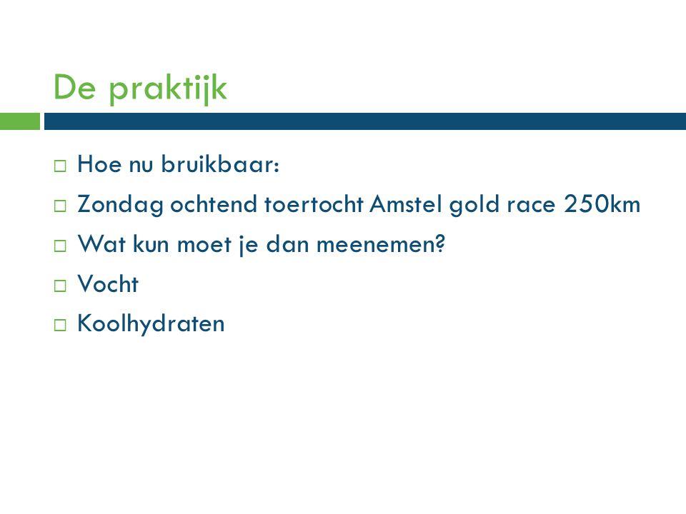 De praktijk  Hoe nu bruikbaar:  Zondag ochtend toertocht Amstel gold race 250km  Wat kun moet je dan meenemen.