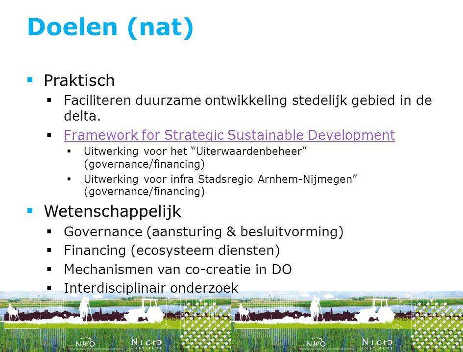  Praktisch  Faciliteren duurzame ontwikkeling stedelijk gebied in de delta.  Framework for Strategic Sustainable Development Framework for Strategi