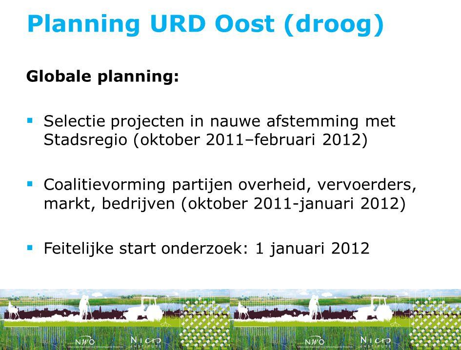 Globale planning:  Selectie projecten in nauwe afstemming met Stadsregio (oktober 2011–februari 2012)  Coalitievorming partijen overheid, vervoerder