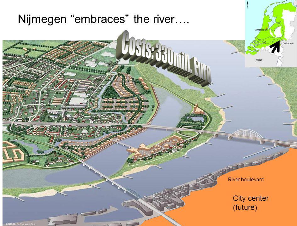 """Nijmegen """"embraces"""" the river…. City center (present) River boulevard City center (future) River boulevard"""