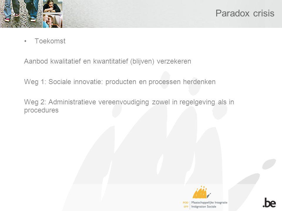 Paradox crisis Toekomst Aanbod kwalitatief en kwantitatief (blijven) verzekeren Weg 1: Sociale innovatie: producten en processen herdenken Weg 2: Administratieve vereenvoudiging zowel in regelgeving als in procedures
